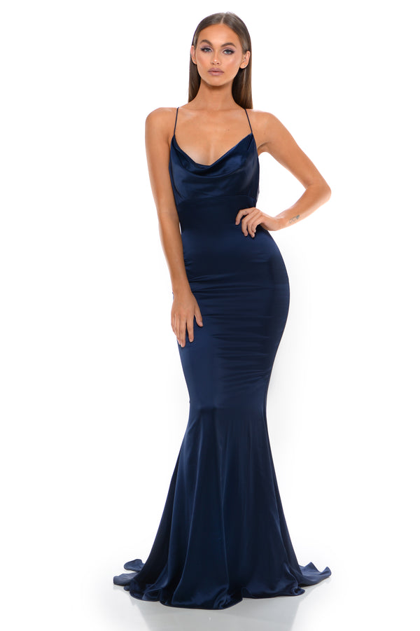 Portia & Scarlett Navy Dana Gown | Best Selling Prom Dress