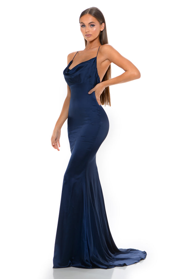Portia & Scarlett Navy Blue Dana Gown | Best Selling Prom Dress