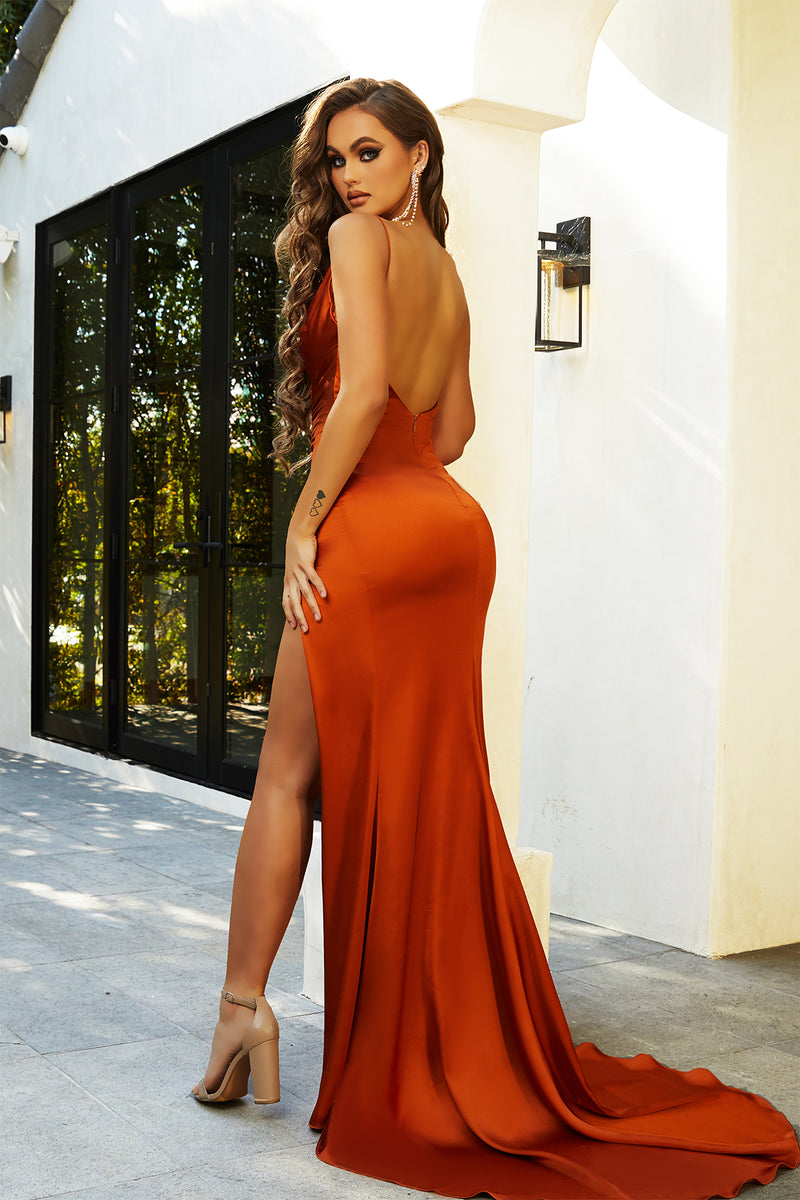 Portia & Scarlett Hugo Gown | Burnt Orange Prom & Bridal Evening Gown