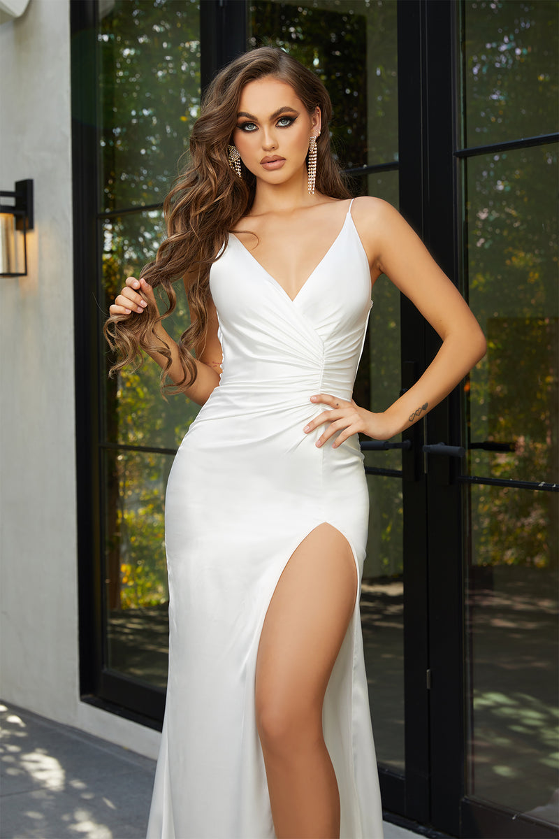 Portia & Scarlett Hugo Gown | White Silk Prom Dress
