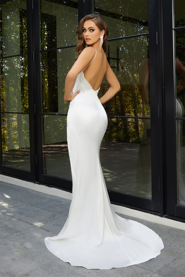 Portia & Scarlett Hugo Gown | Backless White Prom Dress