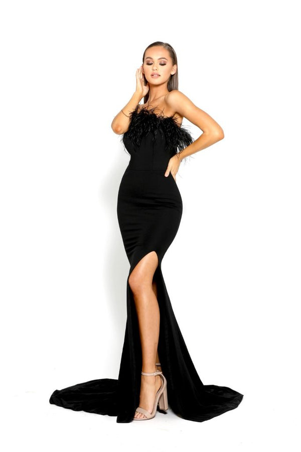 Portia & Scarlett Black Feather Bodice Gown