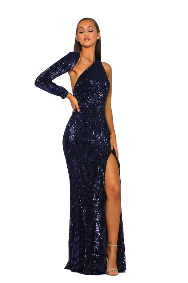 Model Showcasing - Portia & Scarlett Navy One Shoulder Gown