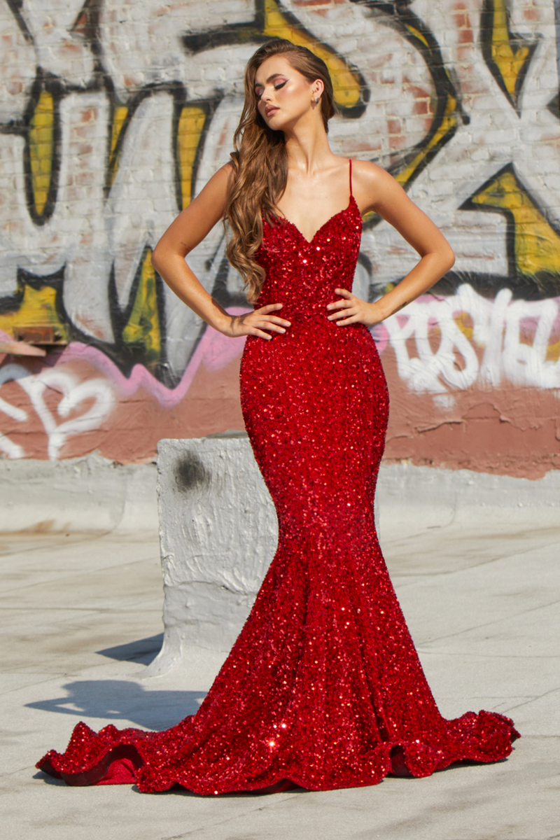 Portia & Scarlett Katerina Gown PS21207 | Red Evening Dress