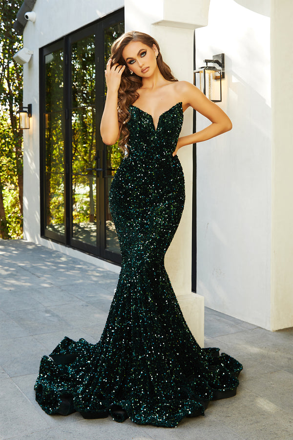 Portia & Scarlett Verona Gown PS21208 | Emerald Green Strapless Sequin Gown