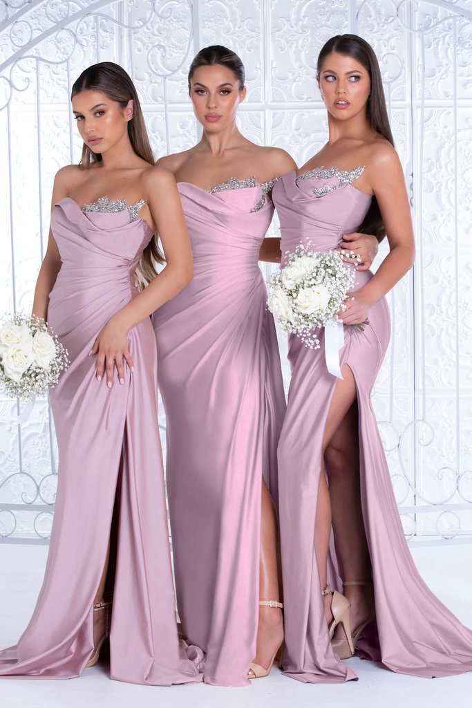 Portia & Scarlett Reene Gown PS21218 | Strapless Dusty Rose Pink Bridesmaid Dresses UK