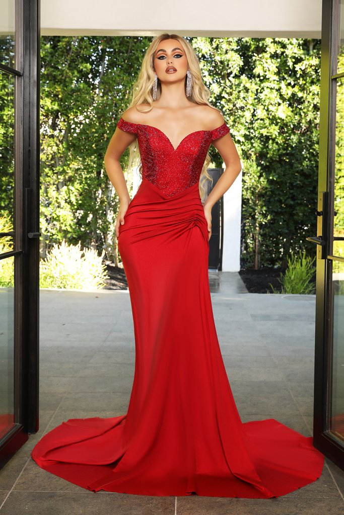 Portia & Scarlett Finola Gown PS21232 | Red Prom | Evening Gown