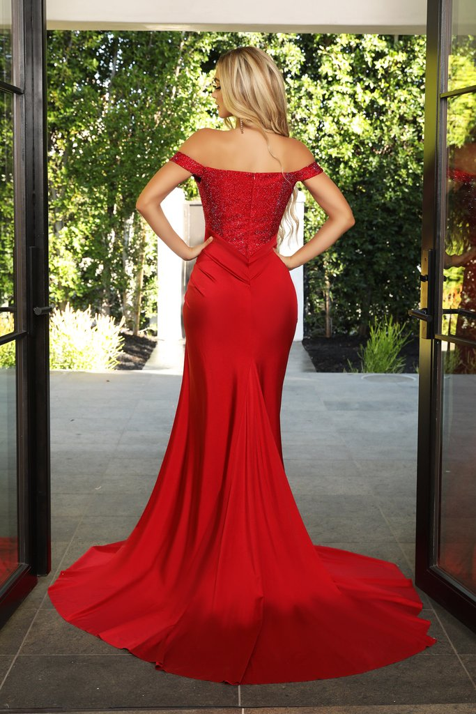 Portia & Scarlett Finola Gown PS21232 | Red Silk Prom | Evening Gown