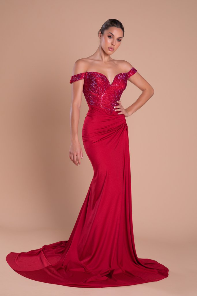 Portia & Scarlett Finola Gown PS21232 | Red Glitter Prom Dress | Evening Gown