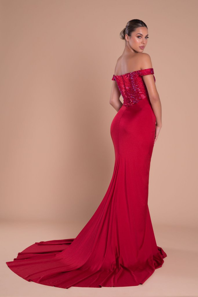 Portia & Scarlett Finola Gown PS21232 | Red Prom | Evening Gown Back View