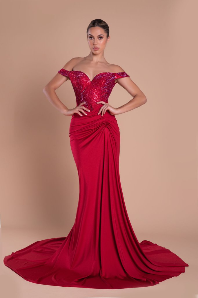 Portia & Scarlett Finola Gown PS21232 | Red Bridesmaid Dress