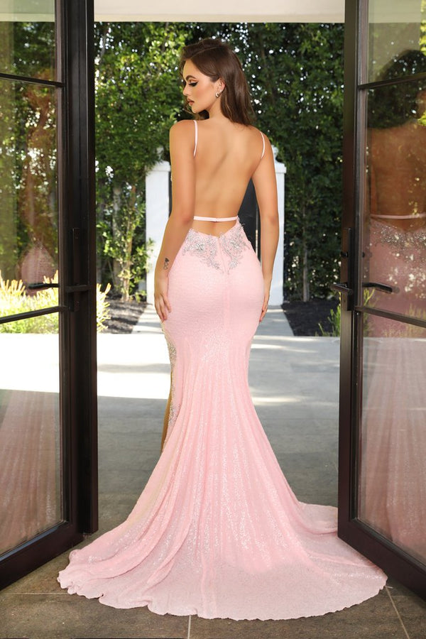 Portia & Scarlett Orianna Gown PS21237 |Baby Pink Pastel Embellished Prom & Evening Dress