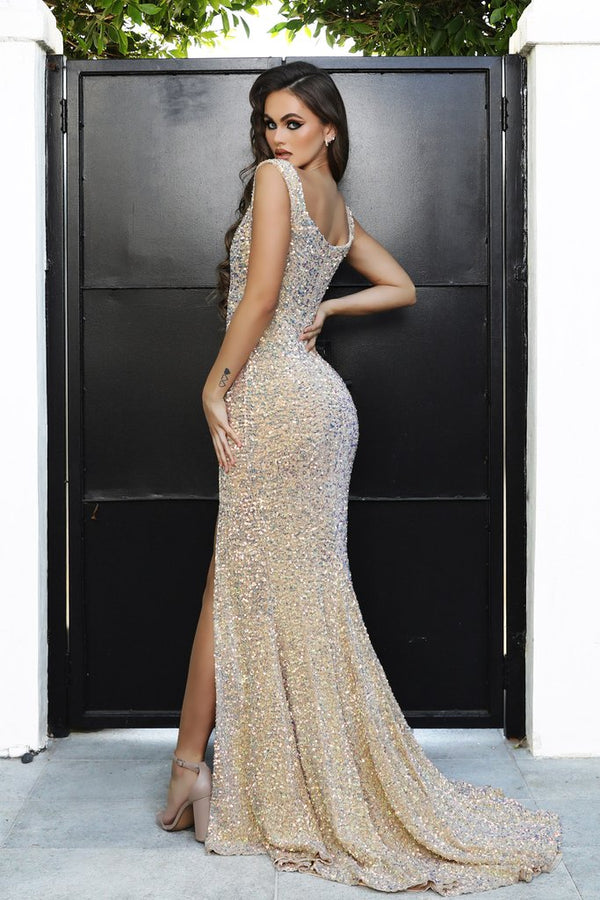 Portia & Scarlett SAINT Gown PS21301| Gold Sequin Prom, Bridesmaid Gown
