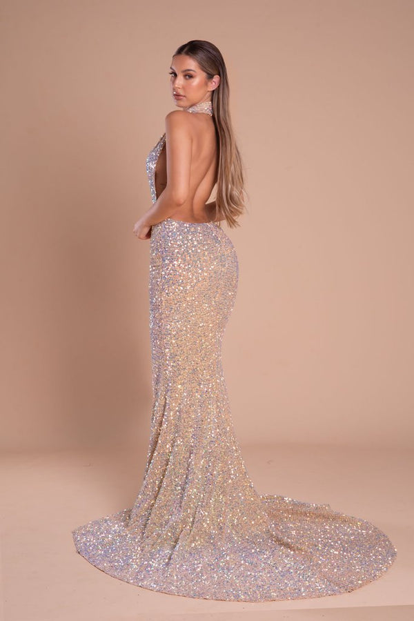 Portia & Scarlett MAIYA PS21305 Backless Sequin Glitter Gown