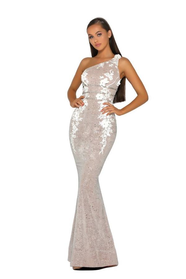 Portia & Scarlett Nude Ivory One Shoulder Gown