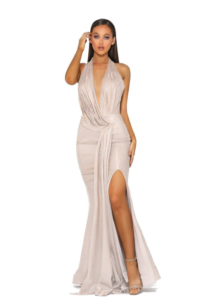 Model Showcasing - Portia & Scarlett Gold Drape Gown
