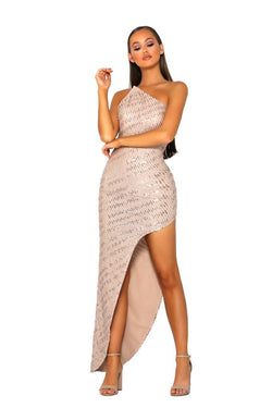 Model Showcasing - Portia & Scarlett Nude Silver Side Gown