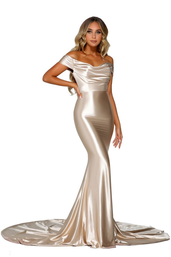 Model Showcasing - Portia & Scarlett Champagne Gown