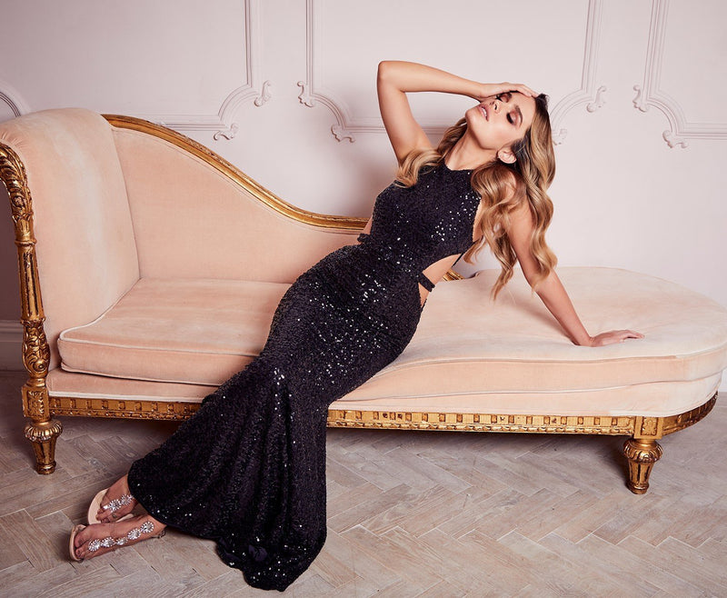Naked Dresses Danielle Gown - Dress __Tab1:sizeguide-Nakeddresses: Black Dresses Brand_Naked Dresses Colour_Black Colour_Sequin Naked