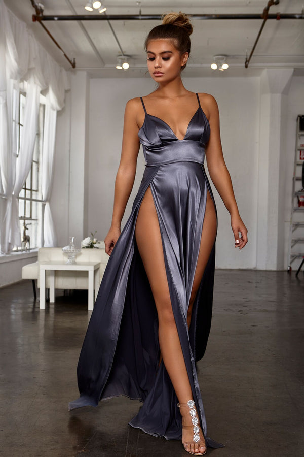 Abyss by Abby Nikki Gown - Grey evening gown dresses