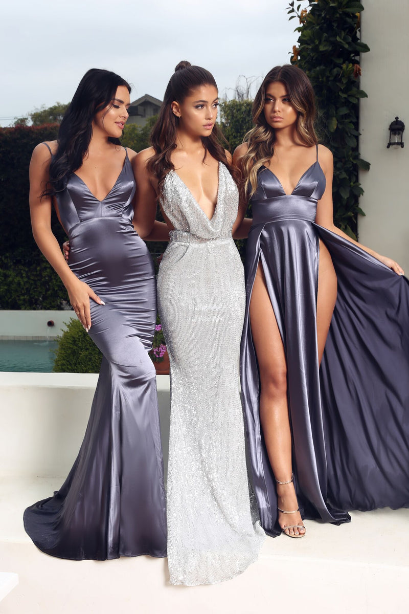 Abyss by Abby Nikki Gown in Grey - Available at NakedDresses.com