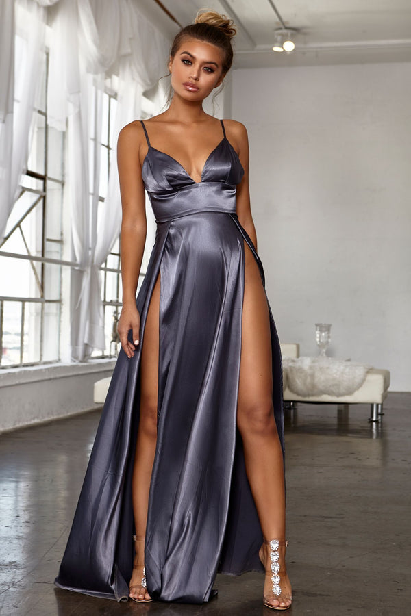 Abyss by Abby - Grey Evening Gown Dress - Naked Dresses