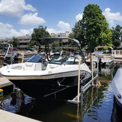Freestanding ShoreStation boat lift with Post Load Guides install