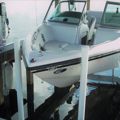 Boathouse boat lift with bow stop