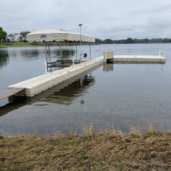 EZ Dock floating dock with free-standing boat lift