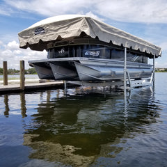 Free-standing ShoreStation boat lift with Legacy Canopy side