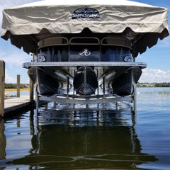 Free-standing ShoreStation boat lift with Legacy Canopy