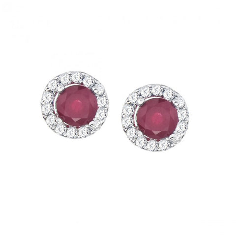 14K White Gold 4.5 mm Round Precious Floating Ruby and Diamond Stud Earring