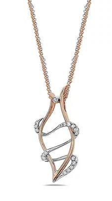14kt Two-Tone Rose and White Double Strand Diamond Pendant