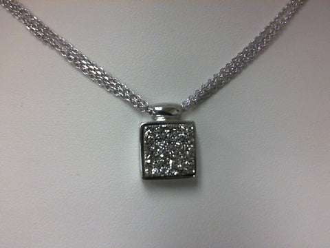 Frederic Duclos Sterling Silver Triple Chain with Silver Druzy Quartz Square Pendant