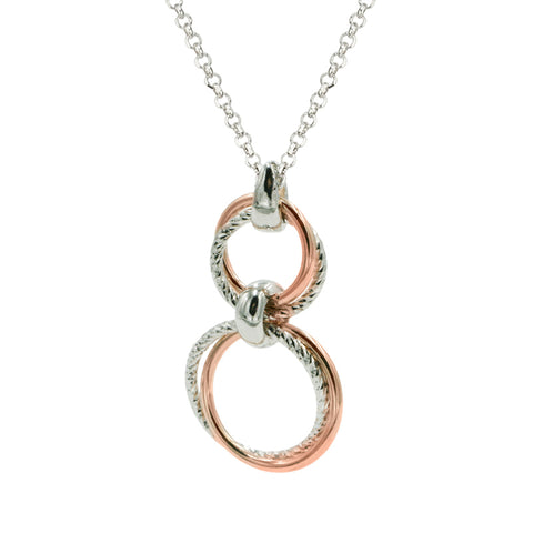 Frederic Duclos Sterling Silver and Rose Gold Plated Diamond Cut Drop Pendant