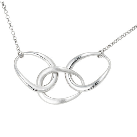Frederic Duclos Sterling Silver Polish and Matte Triple Link Pendant