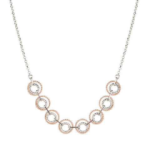 STERLING SILVER ROSE GOLD PLATED CIRCLE BAR NECKLACE