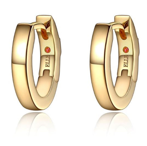 ELLE Sterling Silver and Yellow Gold Plated Hoop Earrings