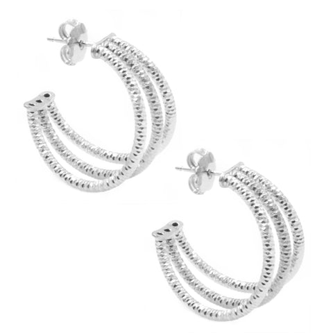 Frederic Duclos Sterling Silver Three Row Hoop Earrings