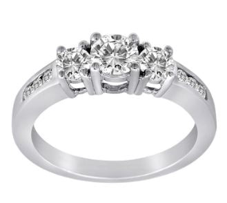 Lady's 14Kt White Gold .50Ct Round Brilliant Diamond Engagement Ring. Size: 6.5