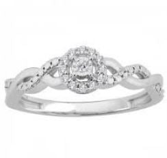 Lady's White 10 Karat Engagement Ring Size 6.75 With 0.10Tw Round Diamonds