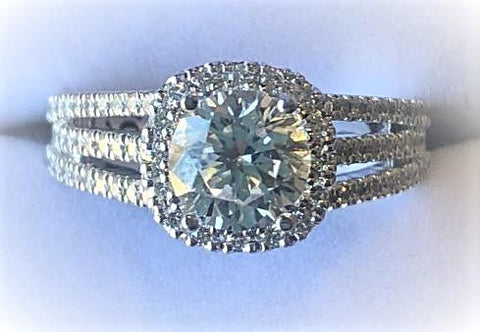 Naledi 18 Karat Halo Diamond Engagement Ring Size 6.5