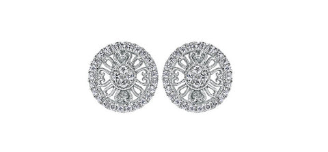 Gabriel and Co. White 14k Filigree Medallion Earrings with 58 Diamonds