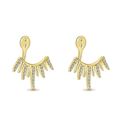 Gabriel and Co. Yellow Earring Jackets 44 Round Diamonds