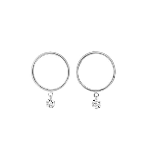 14K White Gold Small Front Hoop .20 Ct Diamond Earrings