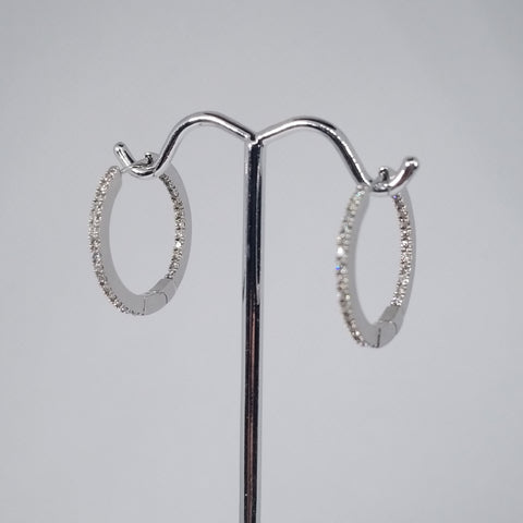 14kt White Gold Inside Outside Dimond Hoop Earrings