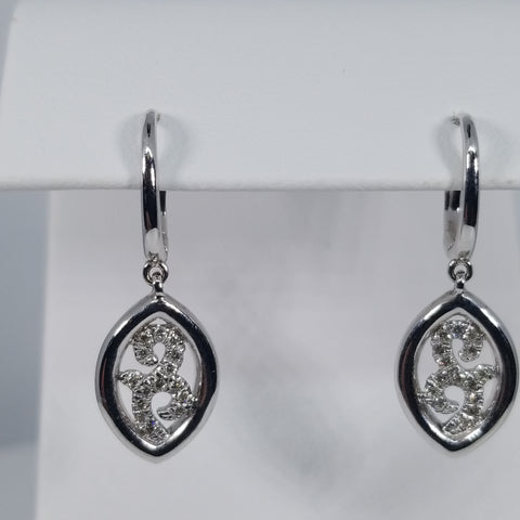 Gabriel & Co. Sterling Silver Dangle Drop Diamond Earrings