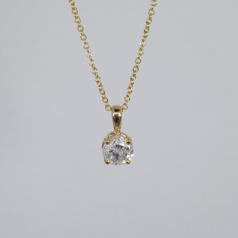 14kt Yellow Gold 1/2 Carat Diamond Solitaire Pendant