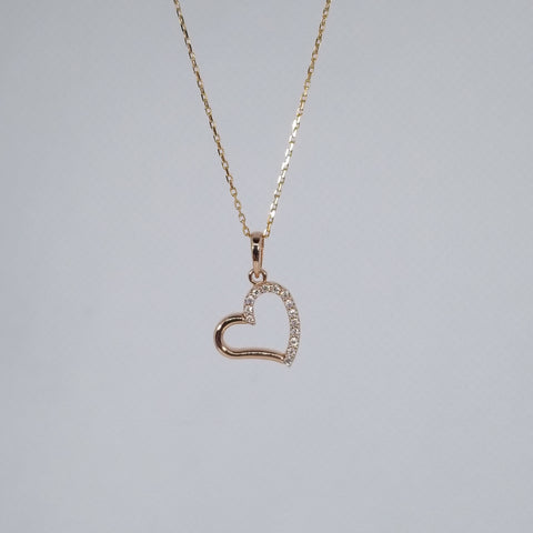 14kt Rose Gold Diamond Heart Necklace with 18 in Chain