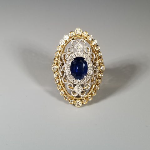 EFFY 14KT Two Tone Gold Diamond and Sapphire Ring